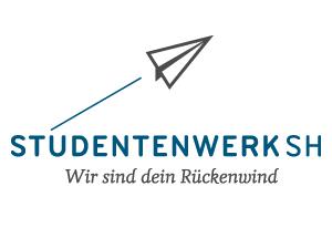 Logo Studentenwerk SH - Stilisierter Papierflieger fliegt nach rechts oben - Text darunter: Studentenwerk SH Wir sind dein Rückenwind