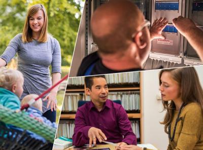 Eine Collage aus drei Fotos mit Berufen aus den Studenwerken, eine Erzieherin, einen Hausmeister und einen Bafög-Berater