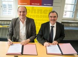 Michael Postert, Geschäftsführer des Studierendenwerks Karlsruhe und Erich Stutzer, Leiter der FamilienForschung Baden-Württemberg