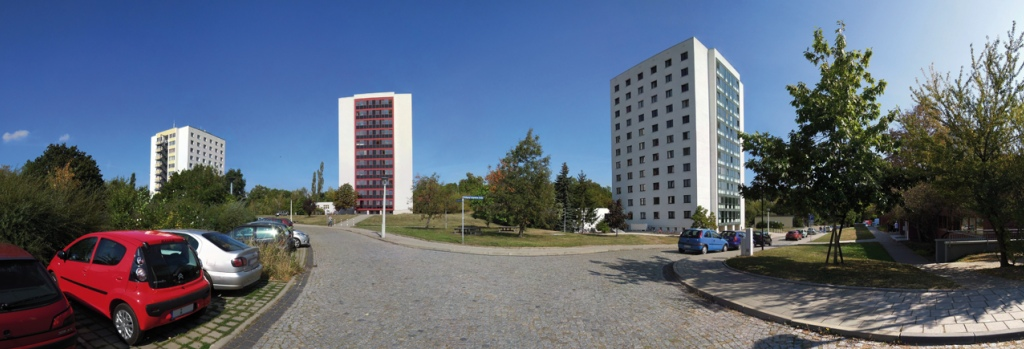 Panorama der Studentenwohnanlage Weinberg des Studentenwerkes Halle