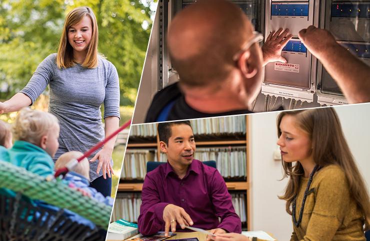 Collage mit drei Fotos aus unterschiedlichen Arbeitsbereichen im Studentenwerk, Erzieherin, Hausmeister und BAföG-Sachbearbeiter im Beratungsgespräch